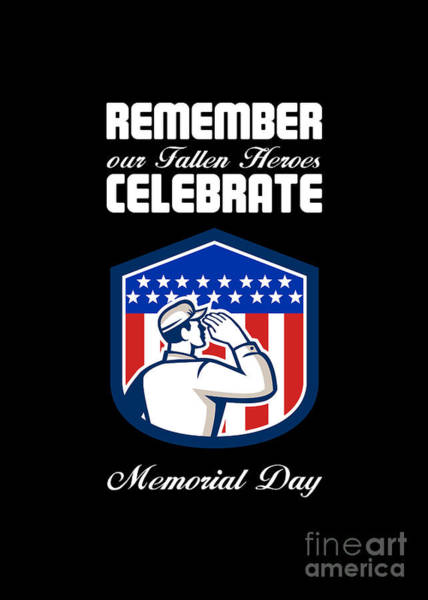 Memorial Day Greeting Card American Soldier Saluting Flag Art Print