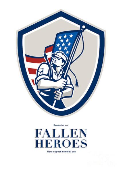 Memorial Day Greeting Card American Soldier Waving Usa Flag Art Print