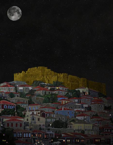 Mixed Media -  Molyvos II Lesvos Greece Moonlight by Eric Kempson