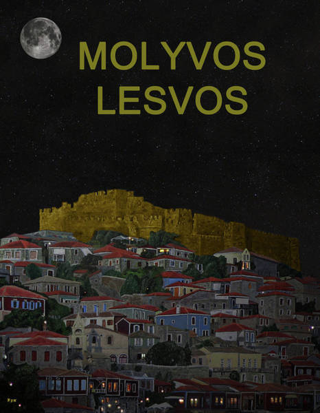 Mixed Media -  Molyvos II Lesvos Greece Moonlight Molyvos Lesvos by Eric Kempson