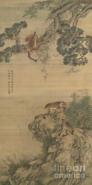 Painting -  Monkeys Playing by Celestial Images