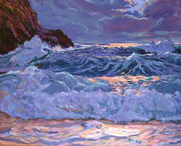 Painting -  Moonlight Over Jade Green Sea by David Lloyd Glover