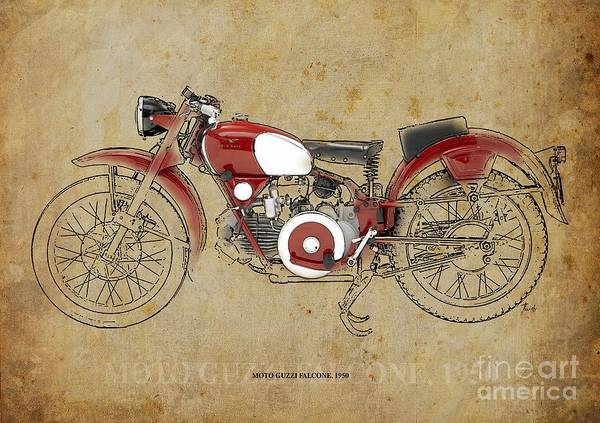 Wall Art - Digital Art -  Moto Guzzi Falcone 1950 by Drawspots Illustrations
