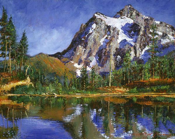 Mountain Lake Painting -  Mountain Stillness by David Lloyd Glover