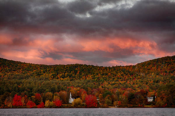 Photograph -  New England Fall Foliage Over The Small White Church by Jeff Folger