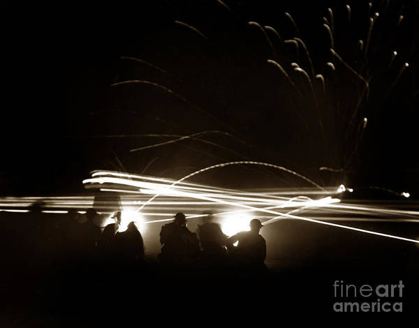 Photograph -  Night Firing Of Machine Gun Tracer Fire Fort Ord Circa 1942 by California Views Archives Mr Pat Hathaway Archives