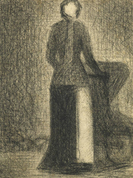 Crayon Drawing -  Nurse With A Childs Carriage  by Georges-Pierre Seurat