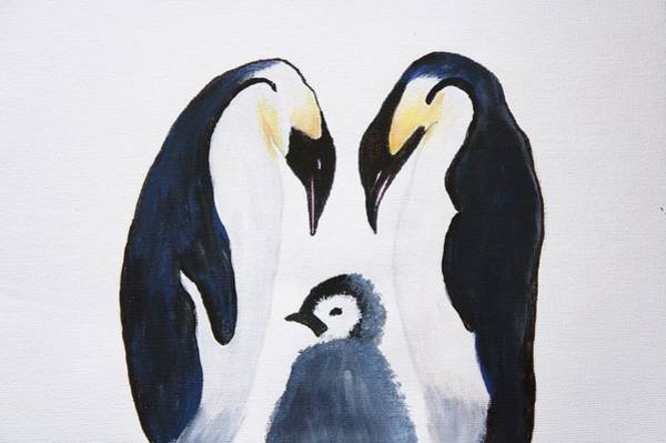 Wall Art - Painting -  Penguins With Chick  by Art Spectrum