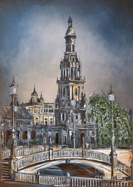 Square Tower Painting -  Plaza De Espana In Seville by Andrzej Szczerski
