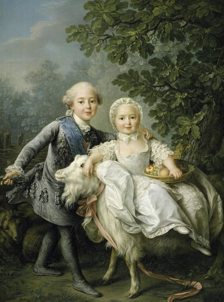 Brothers Painting -  Portrait Of Charles Philippe Of France And His Sister Marie Adelaide by Francois Hubert Drouais