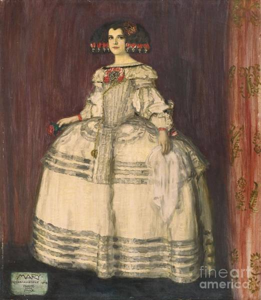 Franz Von Stuck Painting -  Portrait Of The Artist's Daughter Mary In A Velazquez Costume by MotionAge Designs