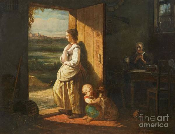 Engels Painting -  Rustic Interior With A Grandmother by MotionAge Designs