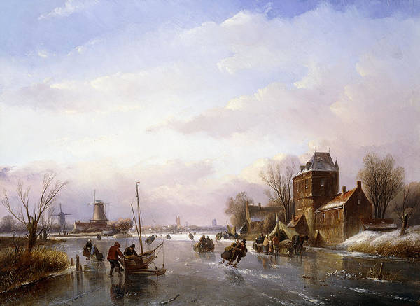 Figure Skater Painting -  Skaters In A Frozen Landscape by Jan Jacob Spohler