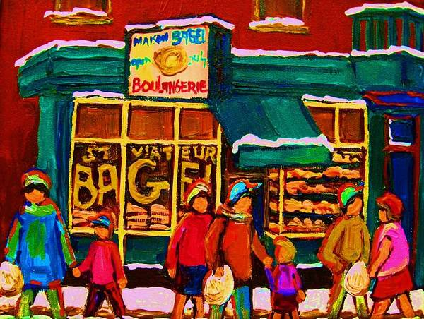 Painting -  St. Viateur Bagel Family Bakery by Carole Spandau