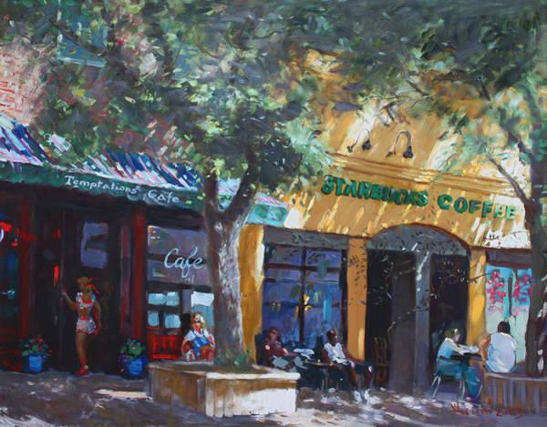 Main Street Wall Art - Painting -  Starbucks Hangout by Ylli Haruni