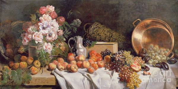 Pomegranates Painting -  Still Life With Flowers And Fruit On A Table by Alfred Petit