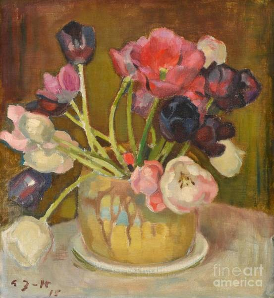 Painting -  Still Life With Tulips by Celestial Images
