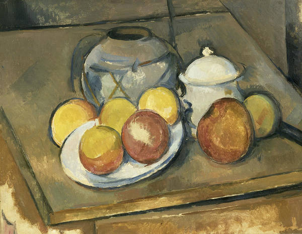 Painting -  Straw Trimmed Vase Sugar Bowl And Apples  by Paul Cezanne