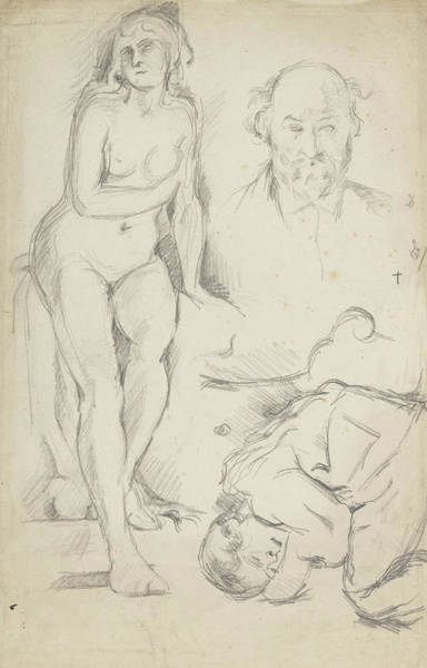 Drawing -  Studies Of Three Figures Including A Self-portrait  by Paul Cezanne