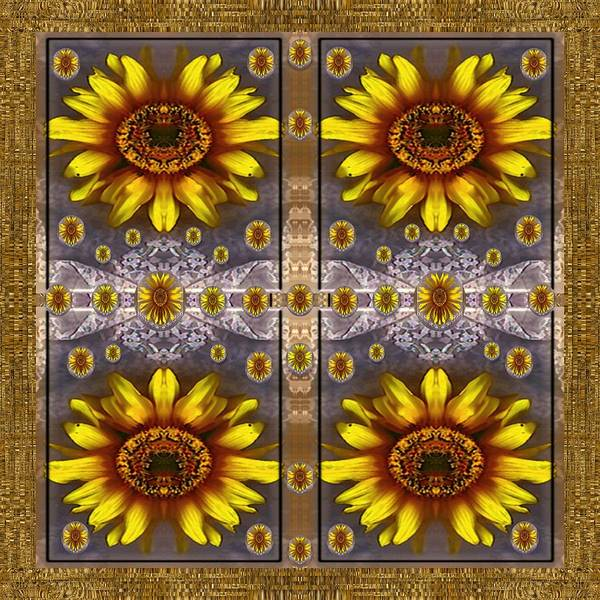 Fall Scenery Mixed Media -  Sunflower Fields On Lace Forever Pop Art by Pepita Selles