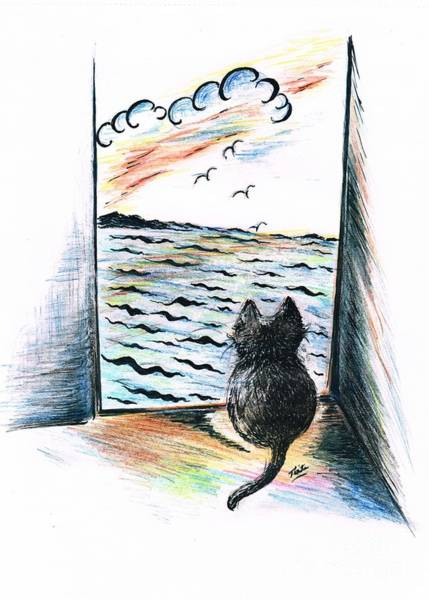 Developed Drawing -  Cat's- Sweet View by Teresa White