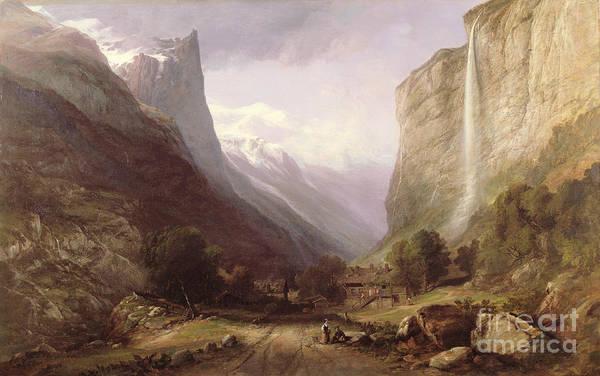 Swiss Alps Wall Art - Painting -  Swiss Scene by Samuel Jackson