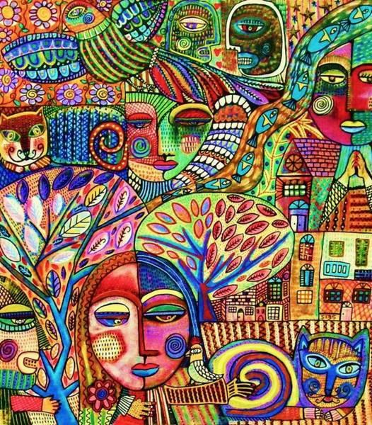 Painting - -talavera Harmony Cat Garden by Sandra Silberzweig