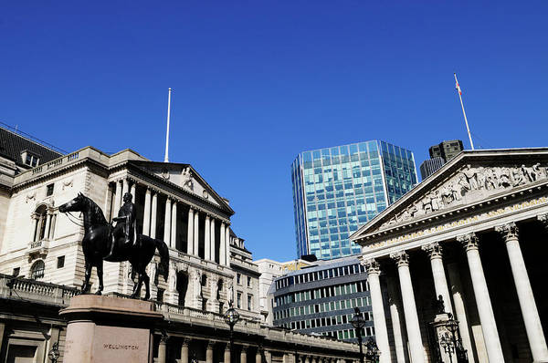 Wall Art - Photograph -  The Bank Of England And The Royal Exchange by Liz Pinchen