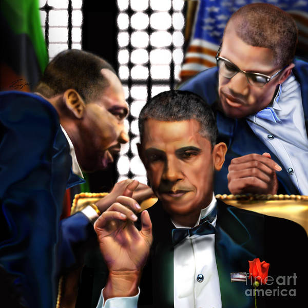 Barack Obama Painting -  Sub Rosa The Council Of Made Men Iron Sharpening Iron by Reggie Duffie