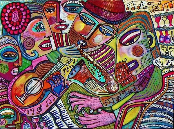 Piano Bar Painting - -the Music Of Friendship  by Sandra Silberzweig