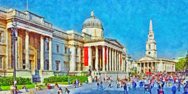 Digital Art -  The National Gallery And St Martin In The Fields Church by Digital Photographic Arts