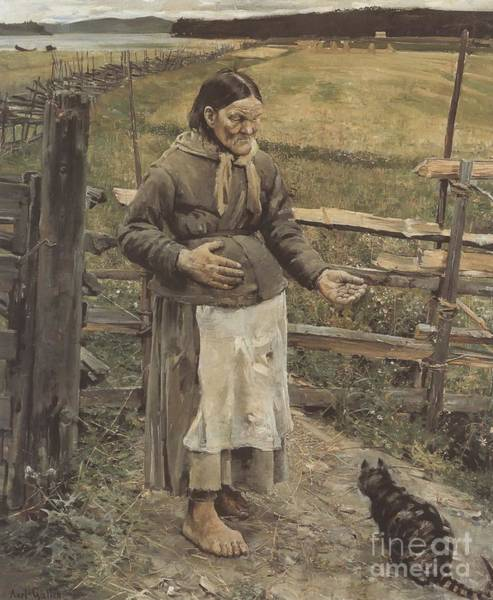 Painting -  The Old Woman And The Cat  by Celestial Images
