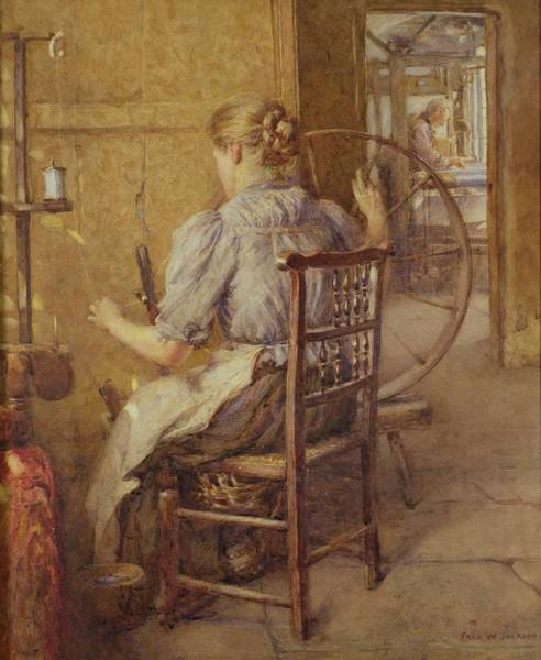 Turning Painting -  The Spinning Wheel  by Frederick William Jackson