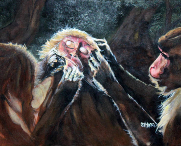 Painting -  Three Monkeys by Jhiatt