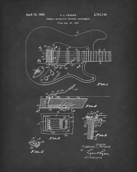 Drawing -  Tremolo Device 1956 Patent Art Black2 by Prior Art Design