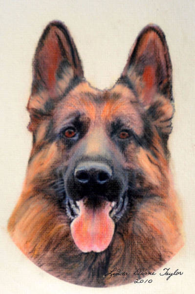 Service Dog Painting -  Tribute To The German Shepherd by Linda Diane Taylor