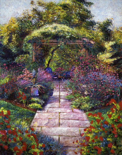 Arbor Painting -  Two Blue Garden Chairs by David Lloyd Glover