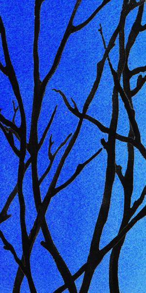 Ultramarine Blue Painting -  Ultramarine Forest Winter Blues I by Irina Sztukowski