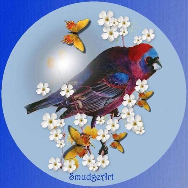 Flowering Trees Digital Art -  Varied Bunting by Madeline  Allen - SmudgeArt