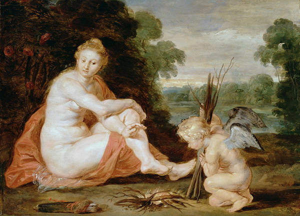 Painting -  Venus And Cupid Warming Themselves  by Peter Paul Rubens