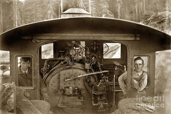 Photograph -  View Of Inside The Cab Of Madera Sugar Pine Lumber Company Circa 1915 by California Views Archives Mr Pat Hathaway Archives