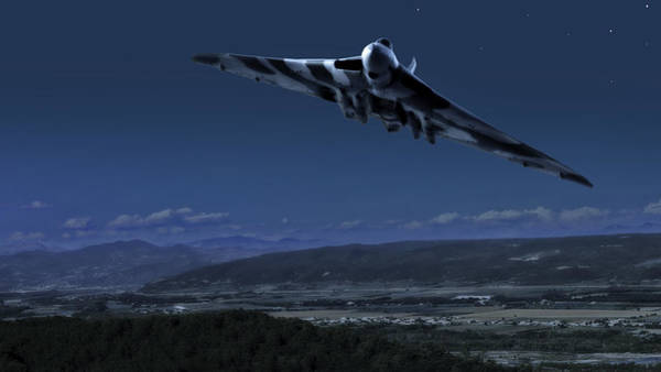 Nuclear Bomber Wall Art - Photograph -  Vulcan_ Death Comes By Starlight by Rob Lester