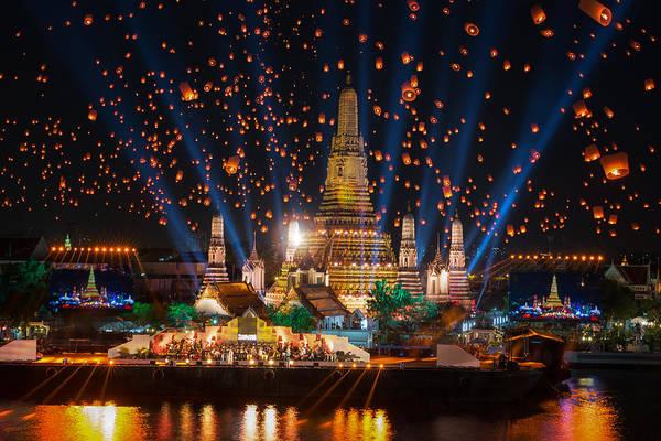 Fireworks Show Wall Art - Photograph -  Wat Arun Temple by Anek Suwannaphoom