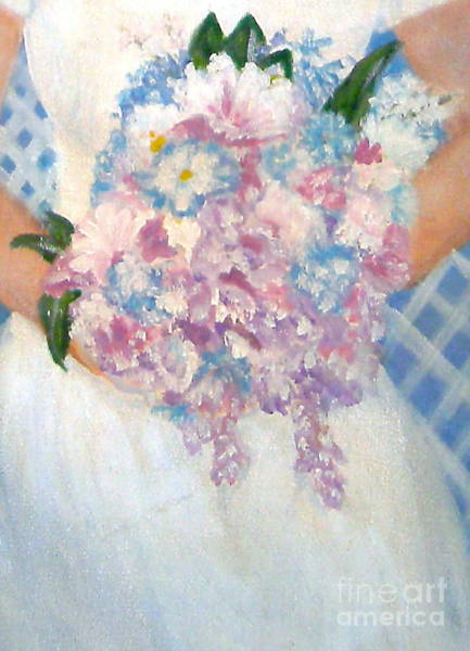 Wishing Well Painting -  Wedding Bouquet by Nancy Rucker