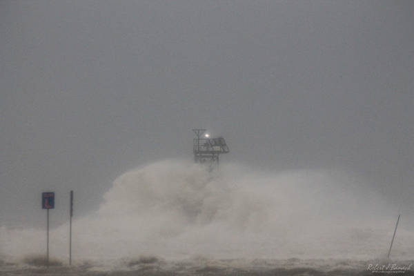 Photograph -  Winter Storm Jonas Hits The Jetty by Robert Banach