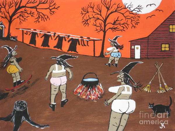 Witches Wash Day Art Print