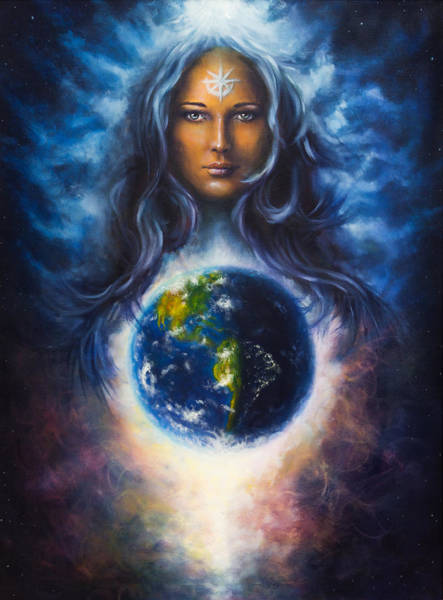 Emanate Painting -  Woman Goddess Lada As A Mighty Loving Guardian And Protective Spirit Upon The Eart by Jozef Klopacka