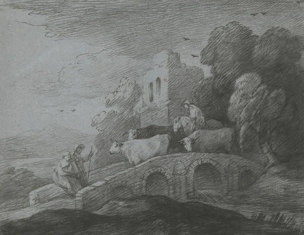 Relief -  Wooded Landscape With Herdsman Driving Cattle Over A Bridge by Thomas Gainsborough