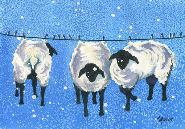 Sheep Painting -  Wool   Wash Cold Line Dry Only by Marsha Elliott