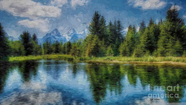 Wall Art - Photograph -  Wyoming Tetons Spruce Mountain Lake. Oil Painting . by Heinz G Mielke